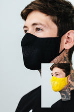 HYPE 2X ADULT BLACK & YELLOW KNIT FACE MASK