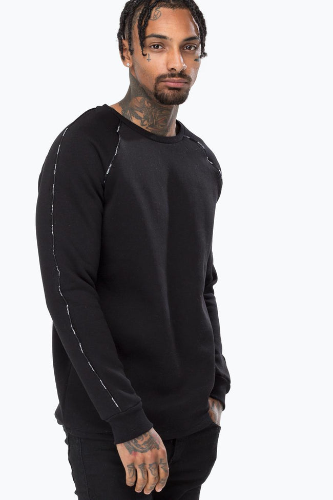 HYPE BLACK JUSTHYPE PIPING MEN'S RAGLAN CREWNECK