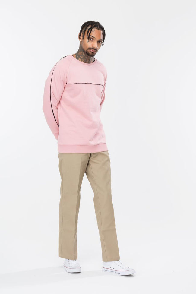 HYPE PINK CHEST PIPING MENS RAGLAN CREW NECK