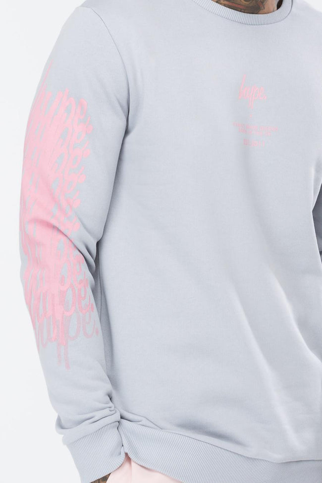 HYPE GREY SCRIPT FADE MENS CREW NECK