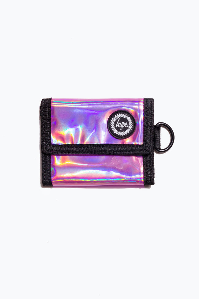 HYPE PINK HOLOGRAPHIC TRIFOLD WALLET
