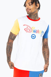 HYPE DISNEY WHITE COLOURBLOCK MEN'S T-SHIRT