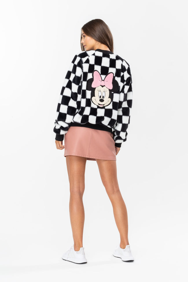 HYPE DISNEY BLACK MINNIE CHECKERBOARD WOMENS CROP JACKET