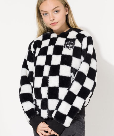 HYPE DISNEY BLACK MINNIE CHECKERBOARD KIDS CROP JACKET
