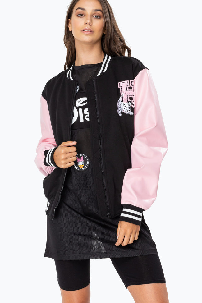 HYPE DISNEY BLACK DALMATIANS WOMENS VARSITY JACKET