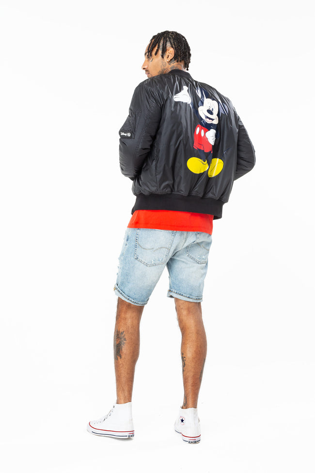 HYPE DISNEY BLACK MICKEY MENS BOMBER JACKET