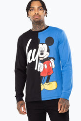 HYPE DISNEY BLACK MICKEY SCRIPT SPLICE MEN'S L/S T-SHIRT