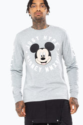 HYPE DISNEY GREY MICKEY CIRCLE MEN'S L/S T-SHIRT