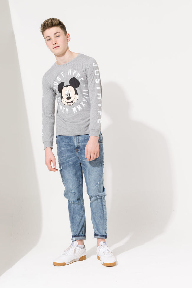 HYPE DISNEY GREY MICKEY CIRCLE KIDS L/S T-SHIRT