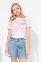 HYPE DISNEY PINK CHESHIRE CAT POCKET KIDS CROP T-SHIRT