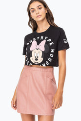 HYPE DISNEY BLACK MINNIE COG WOMENS CROP T-SHIRT