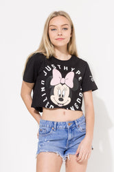 HYPE DISNEY BLACK MINNIE COG KIDS CROP T-SHIRT