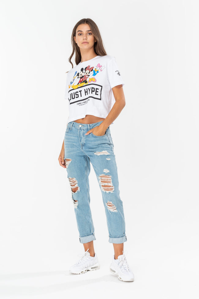 HYPE DISNEY WHITE SQUAD WOMENS CROP T-SHIRT
