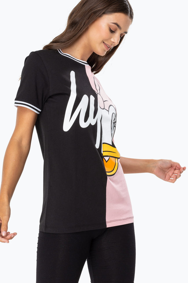 HYPE DISNEY BLACK DAISY SPLICE WOMENS T-SHIRT