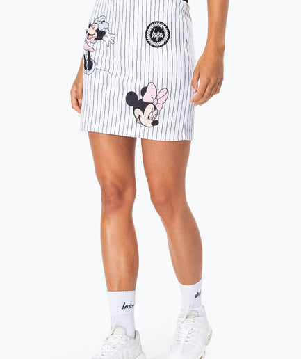 HYPE DISNEY WHITE MINNIE STRIPE WOMEN'S SKIRT