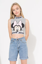 HYPE DISNEY GREY MINNIE PEEK KIDS SLEEVELESS T-SHIRT