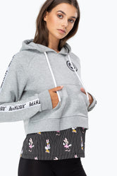HYPE DISNEY GREY GIRL SQUAD STRIPE WOMEN'S PULLOVER HOODIE