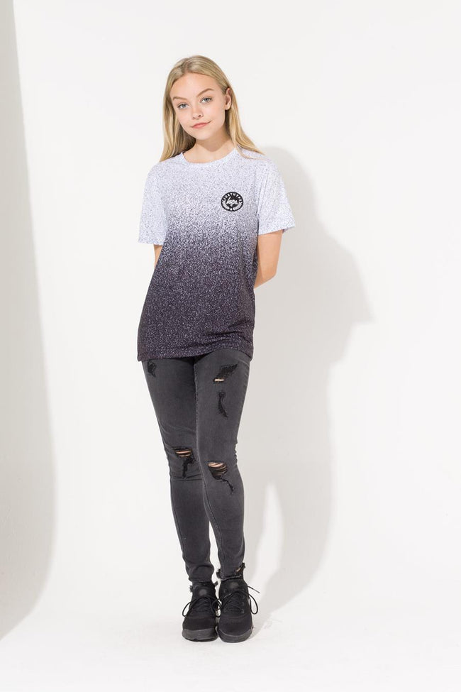 HYPE WHITE CREST SPECKLE FADE GIRLS T-SHIRT