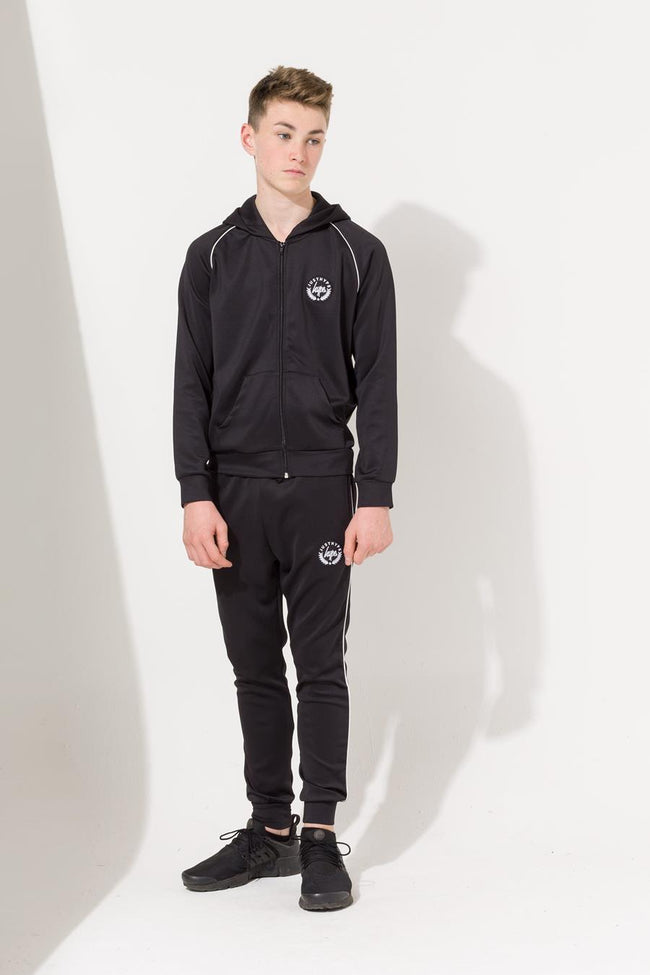 HYPE BLACK CREST PIPING KIDS TRACK PANTS