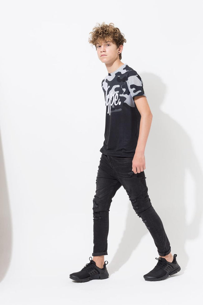 HYPE BLACK WHITE CAMO FADE KIDS T-SHIRT