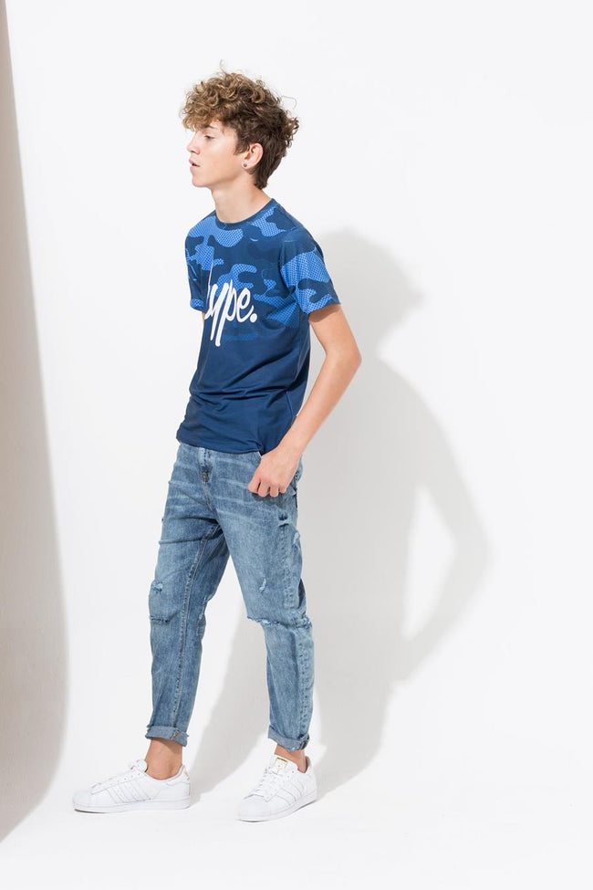 HYPE NAVY CAMO FADE KIDS T-SHIRT