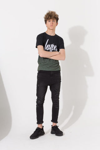 HYPE KHAKI BLACK SPECKLE FADE KIDS T-SHIRT