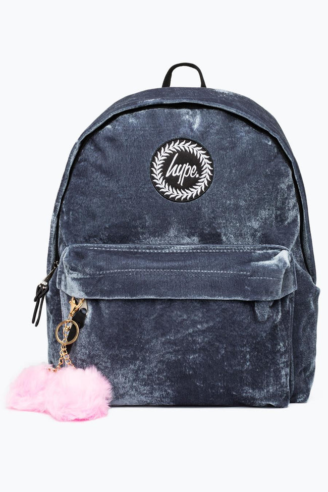 HYPE GREY VELVET WITH PINK POM POM BACKPACK