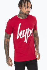 HYPE RED SCRIPT MENS T-SHIRT