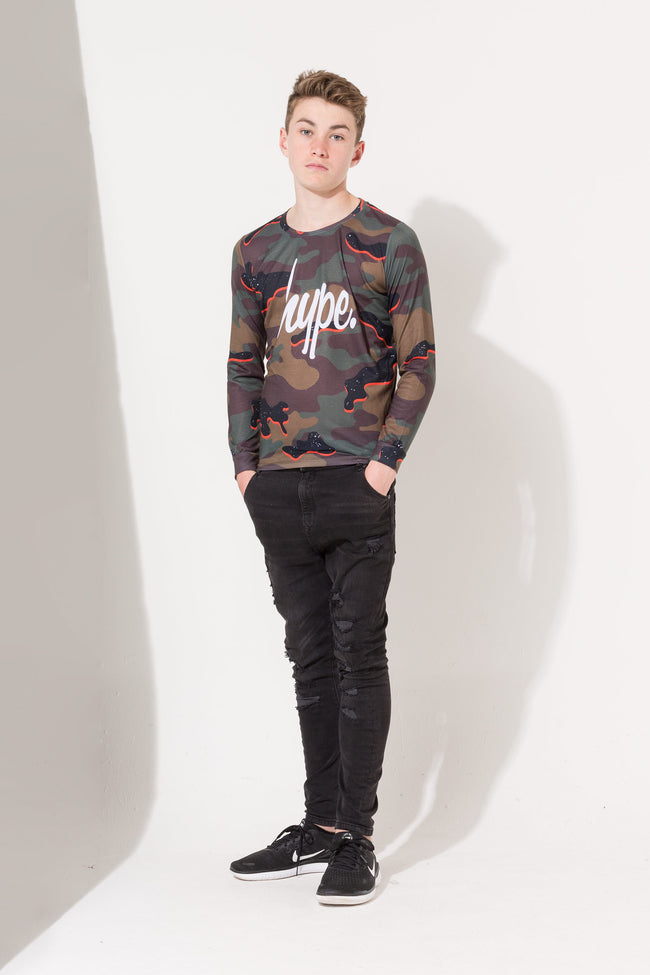 HYPE ORANGE CAMO SCRIPT KIDS L/S T-SHIRT