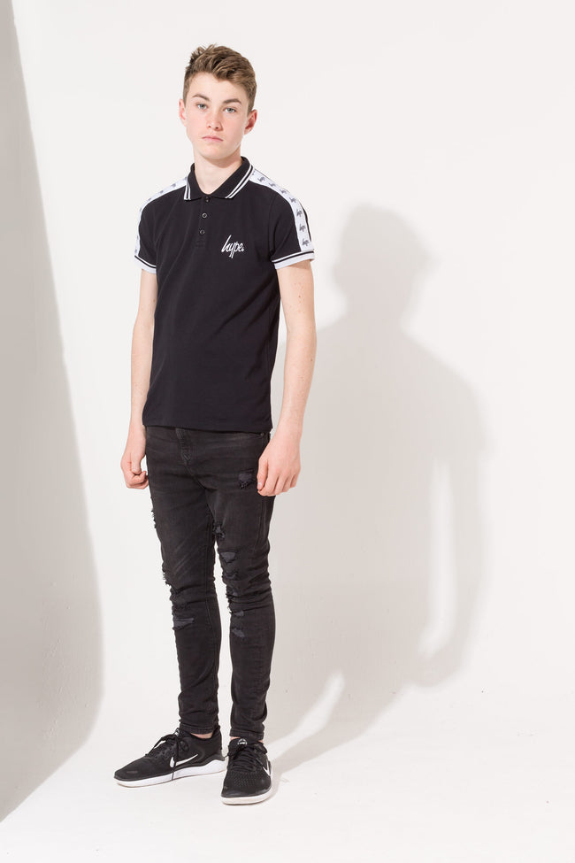 HYPE BLACK TAPE SCRIPT KIDS POLO SHIRT