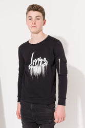 HYPE BLACK DRIP SCRIPT KIDS CREW NECK