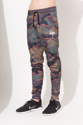 HYPE ORANGE CAMO SCRIPT KIDS JOGGERS