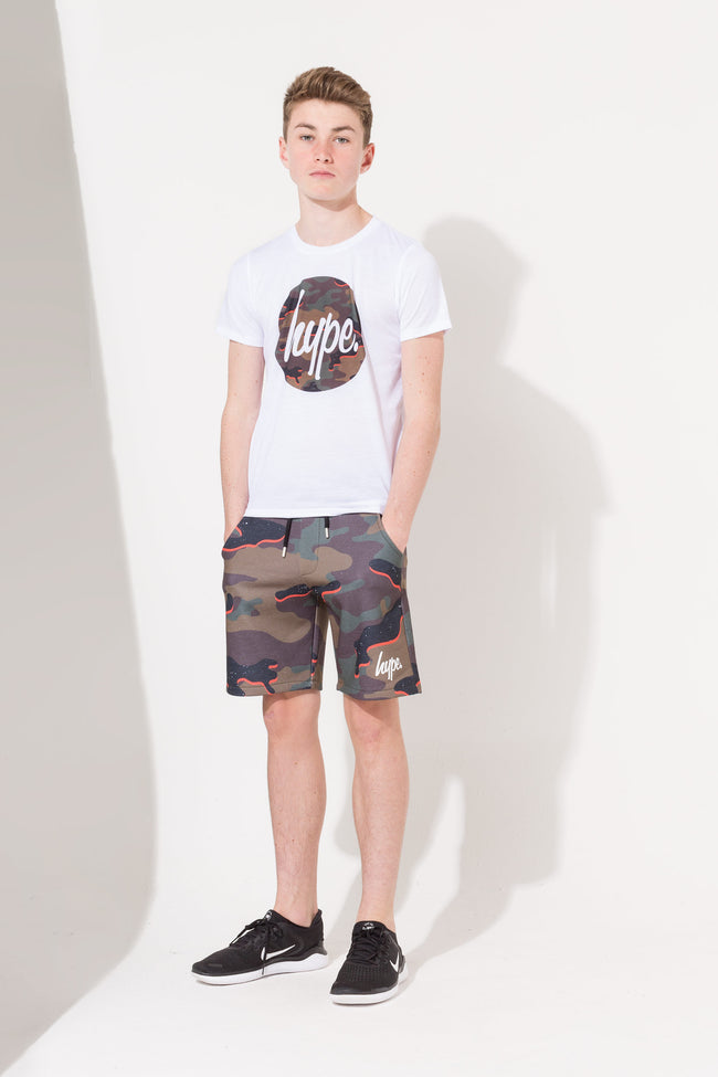 HYPE ORANGE CAMO SCRIPT KIDS SHORTS