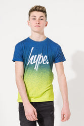 HYPE BLUE SPECKLE FADE SCRIPT KIDS SUB T-SHIRT