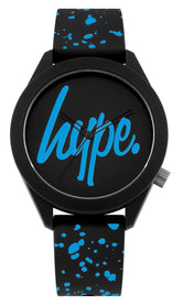 HYPE BLACK AND CYAN SPECKLE SCRIPT WATCH