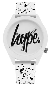 HYPE WHITE AND BLACK SPECKLE SCRIPT WATCH
