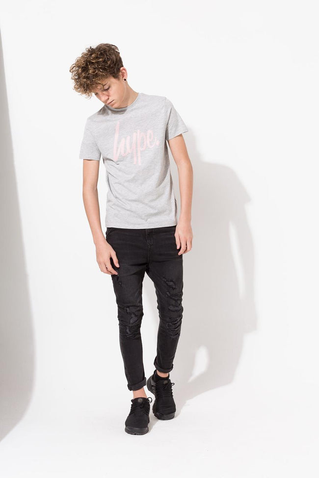 HYPE GREY PINK HYPE SCRIPT KIDS T-SHIRT