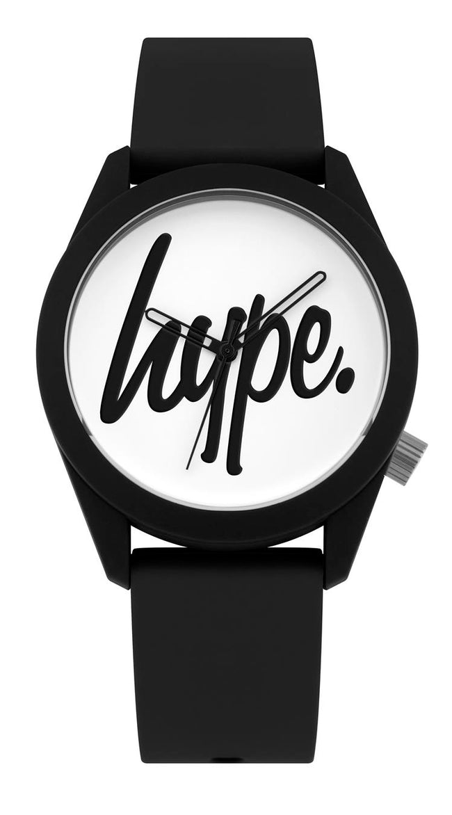 HYPE BLACK AND WHITE SCRIPT KIDS WATCH