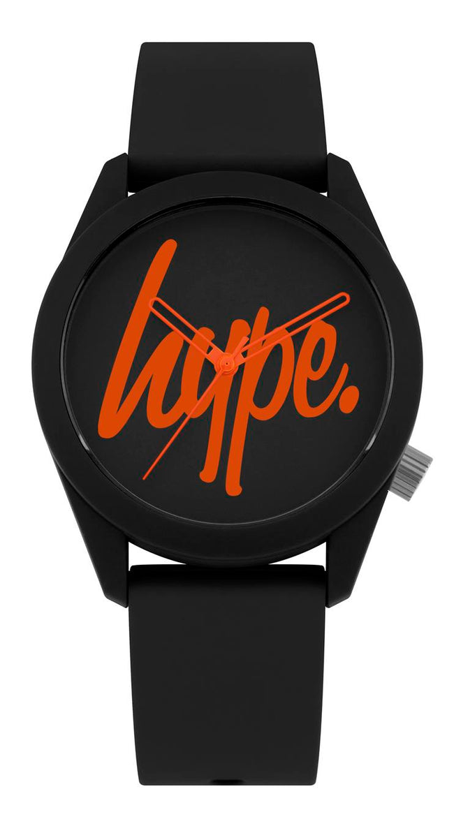 HYPE BLACK AND BLACK SCRIPT WATCH