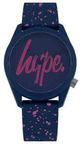 HYPE NAVY AND PINK SPECKLE SCRIPT WATCH