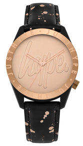 HYPE BLACK AND ROSE GOLD SPECKLE SCRIPT WATCH