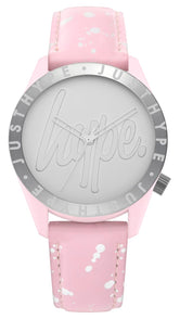 HYPE BABY PINK AND SILVER SPECKLE SCRIPT WATCH