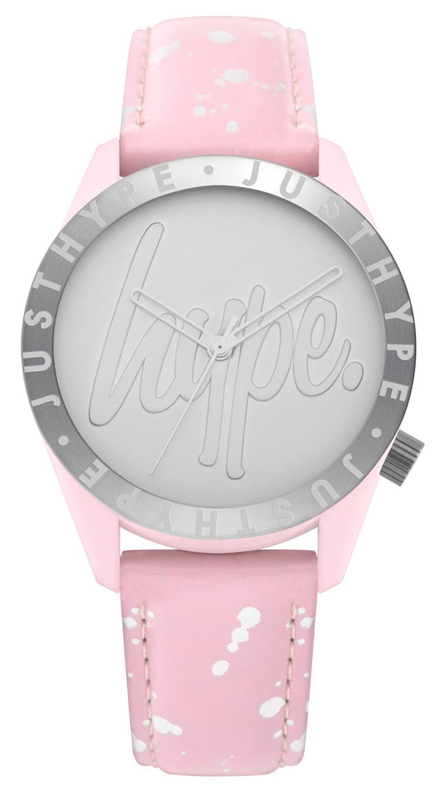 HYPE BABY PINK AND SILVER SPECKLE SCRIPT KIDS WATCH