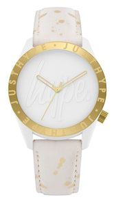 HYPE WHITE AND GOLD SPECKLE SCRIPT WATCH