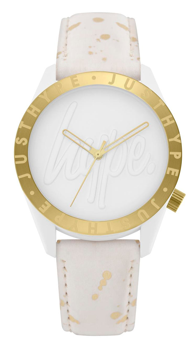 HYPE WHITE AND GOLD SPECKLE SCRIPT KIDS WATCH