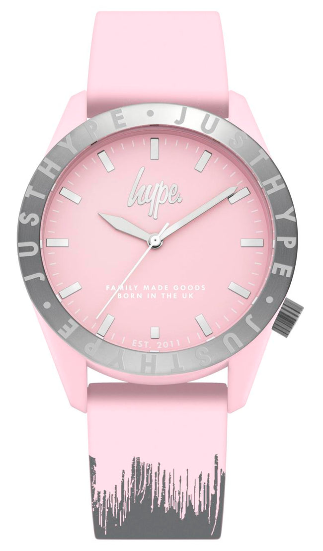 HYPE BABY PINK AND GREY PAINT DRIP WATCH