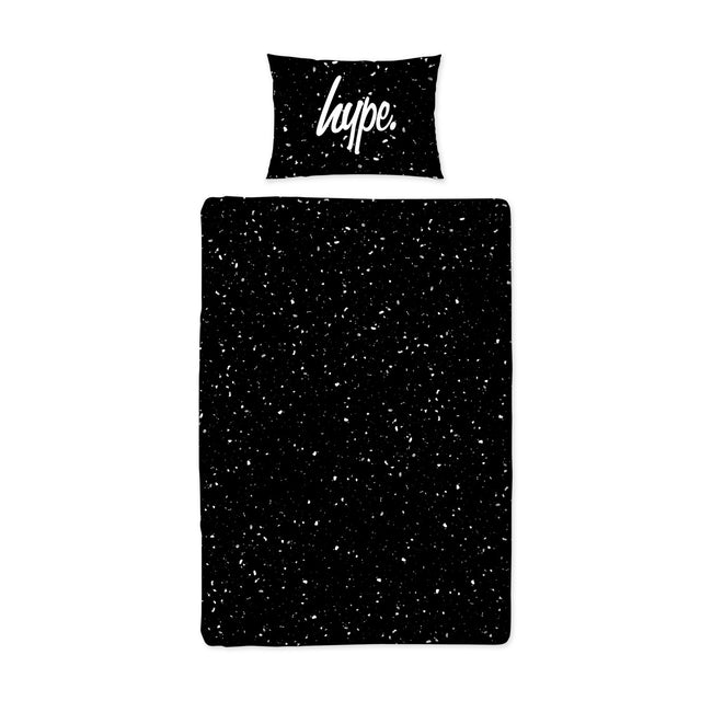 HYPE WHITE AND BLACK SPECKLE FADE SINGLE BEDDING SET