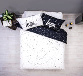 HYPE WHITE AND BLACK SPECKLE FADE DOUBLE BEDDING SET