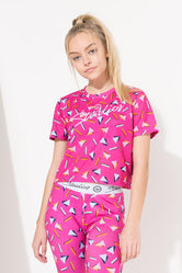 HYPE PINK STUDIOS ABSTRACT GIRLS CROP T-SHIRT