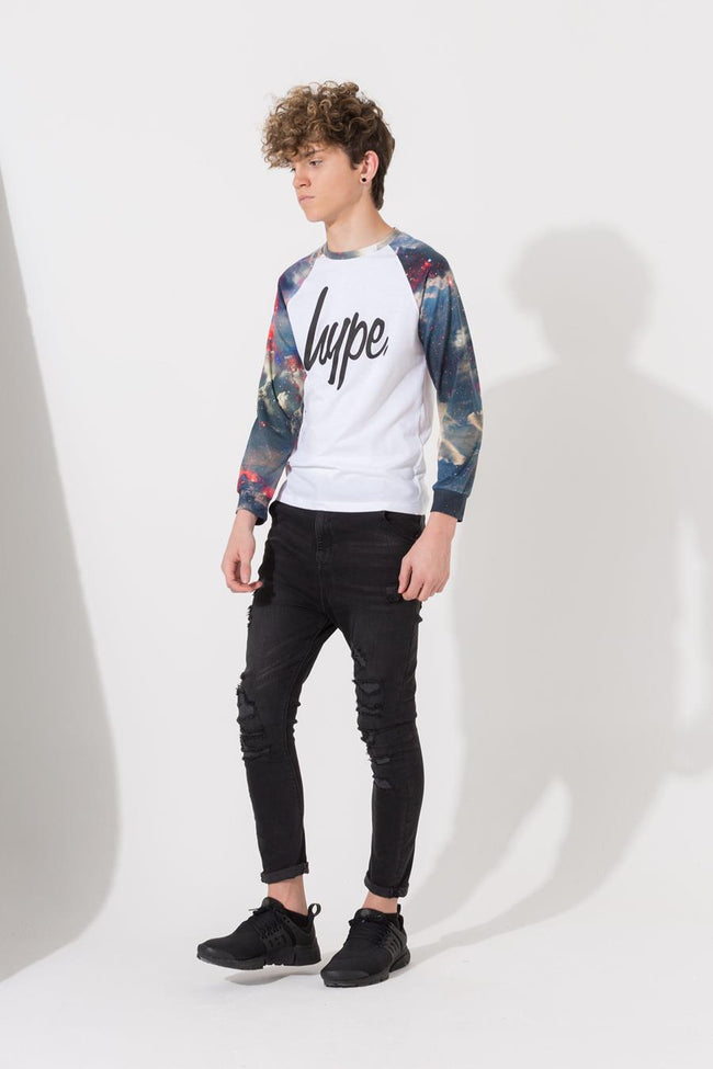 HYPE WHITE SPACE PRINT BOYS L/S RAGLAN T-SHIRT